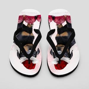Christmas Doberman Puppy Flip Flops