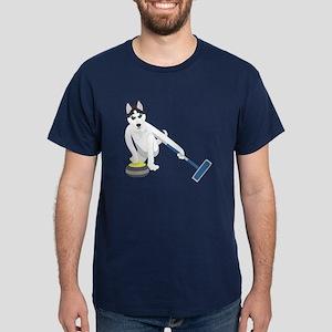 Siberian Husky Curling Dark T-Shirt