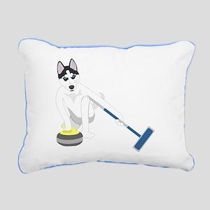 Siberian Husky Curling Rectangular Canvas Pillow