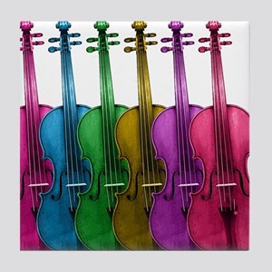 Colorful Violins Tile Coaster