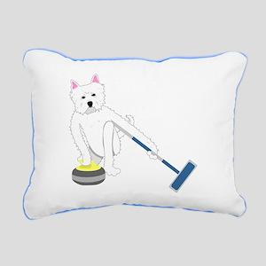 Westie Curling Rectangular Canvas Pillow