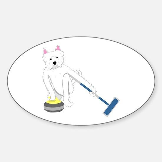 Westie Curling Sticker (Oval)