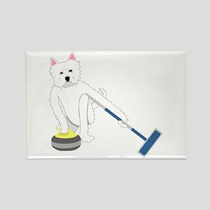 Westie Curling Rectangle Magnet