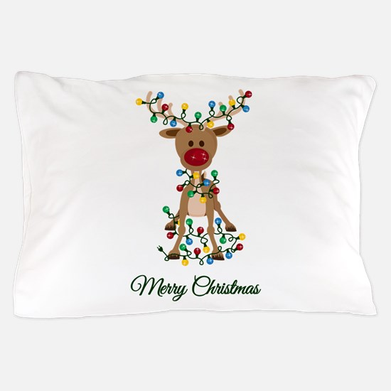 Merry Christmas Reindeer Pillow Case