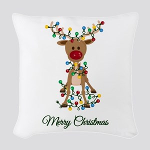 Merry Christmas Reindeer Woven Throw Pillow