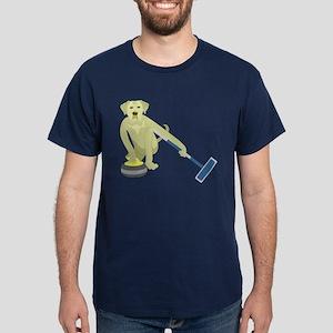 Yellow Lab Curling Dark T-Shirt