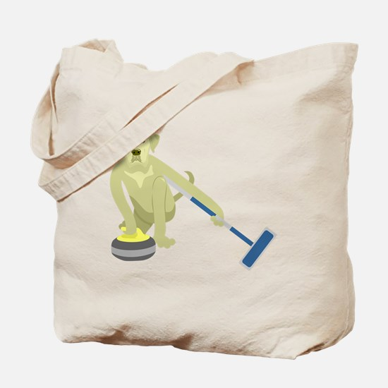 Yellow Lab Curling Tote Bag