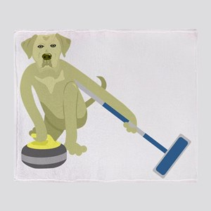 Yellow Lab Curling Throw Blanket