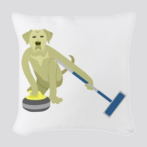 Yellow Lab Curling Woven Throw Pillow