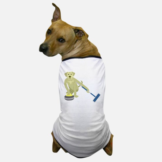 Yellow Lab Curling Dog T-Shirt