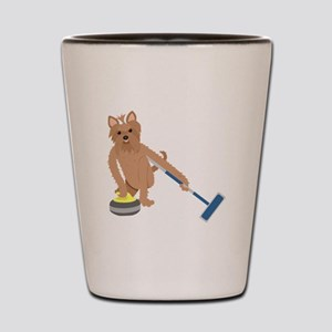 Yorkshire Terrier Curling Shot Glass