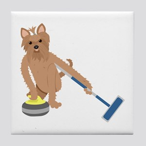 Yorkshire Terrier Curling Tile Coaster