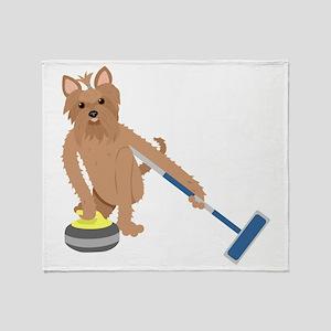 Yorkshire Terrier Curling Throw Blanket