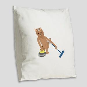 Yorkshire Terrier Curling Burlap Throw Pillow