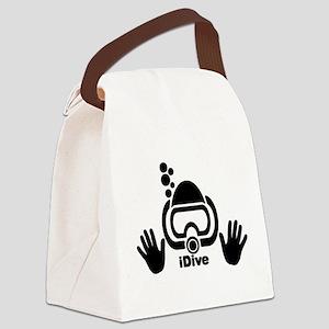 idive wht blk shadow 4dark Canvas Lunch Bag