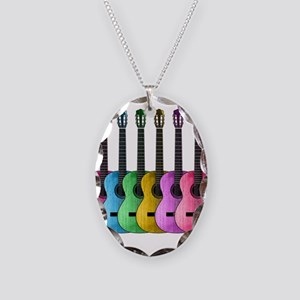 Colorful Guitars Necklace Oval Charm