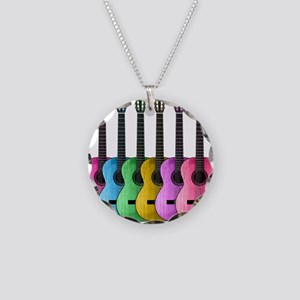 Colorful Guitars Necklace Circle Charm