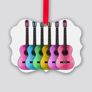 Colorful Guitars Picture Ornament