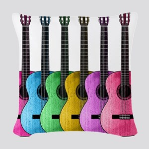 Colorful Guitars Woven Throw Pillow