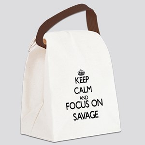 Keep calm and Focus on Savage Canvas Lunch Bag