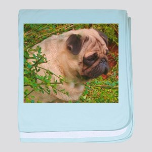 Fawn Pug with foliage baby blanket