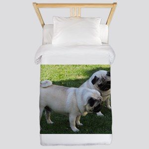 Two fawn Pugs Twin Duvet