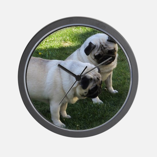 Two fawn Pugs Wall Clock