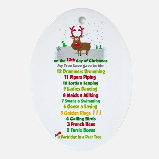 Red Nose Reindeer And Colorful 12 Ornament (oval)