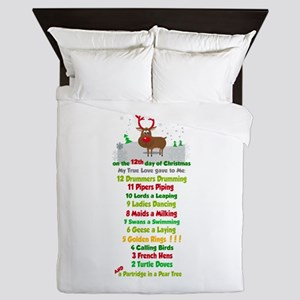Red Nose Reindeer And Colorful 12 Days Queen Duvet