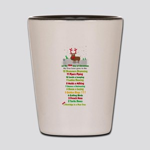 Red Nose Reindeer And Colorful 12 Days Shot Glass