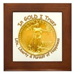Gold Liberty Gold Motto Framed Tile