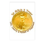 Gold Liberty Gold Motto Postcards (Package of 8)