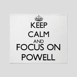 Keep calm and Focus on Powell Throw Blanket