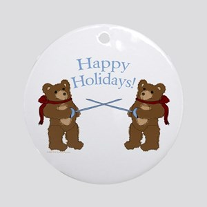 Teddy Bear Fencers Ornament (Round)