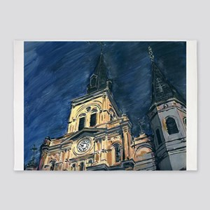 French Quarter Cathedral 5'x7'Area Rug