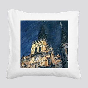 French Quarter Cathedral Square Canvas Pillow