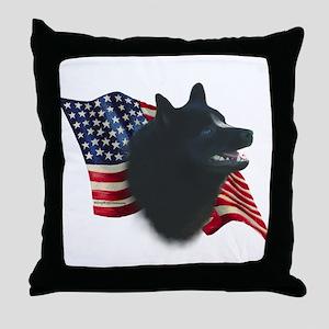 Schipperke Flag Throw Pillow