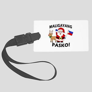 Santa's Maligayang Pasko! Large Luggage Tag