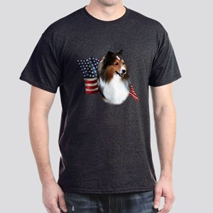 Sheltie(sbl) Flag Dark T-Shirt