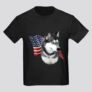 Husky(blk) Flag Kids Dark T-Shirt