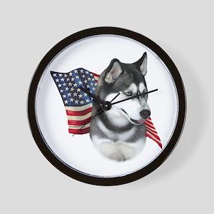Husky(blk) Flag Wall Clock
