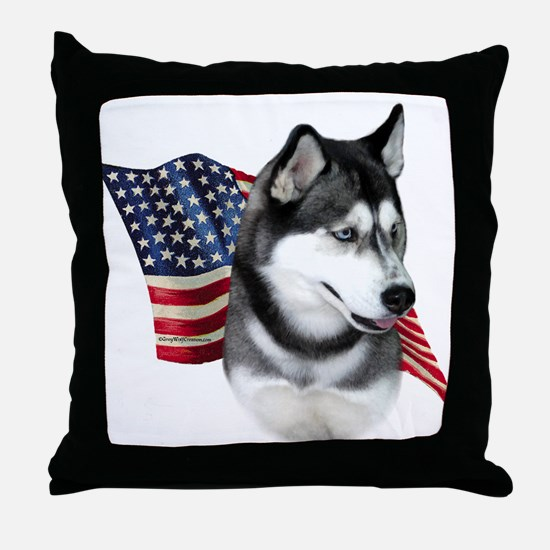 Husky(blk) Flag Throw Pillow