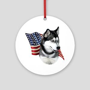 Husky(blk) Flag Ornament (Round)