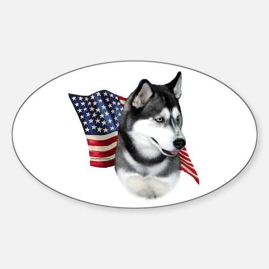 Husky(blk) Flag Oval Decal