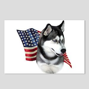 Husky(blk) Flag Postcards (Package of 8)