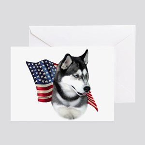Husky(blk) Flag Greeting Cards (Pk of 10)