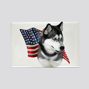 Husky(blk) Flag Rectangle Magnet