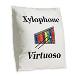 Xylophone Virtuoso Burlap Throw Pillow