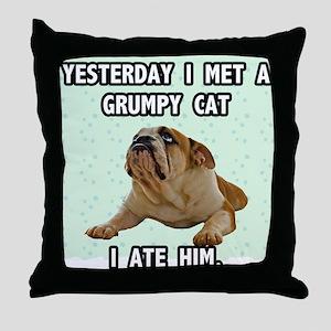 Grumpy Dog Sez Throw Pillow