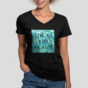 Theta Phi Alpha Geomet Women's V-Neck Dark T-Shirt